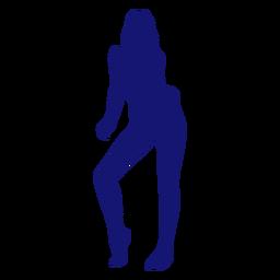 Chica sexy punta del pie silueta azul