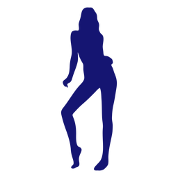 Sexy girl tip toe silhouette blue