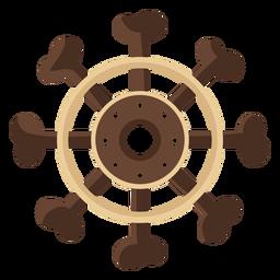 Icono plano de volante de barco