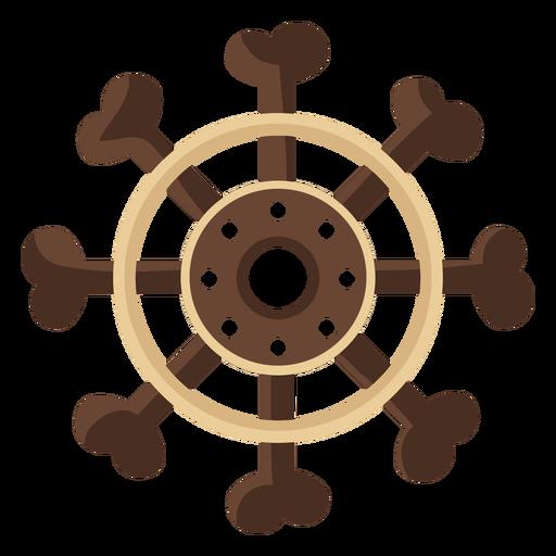 Ícone plano do volante do navio