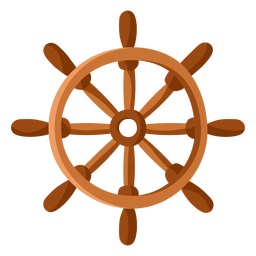 Ship steering wheel illustration flat
