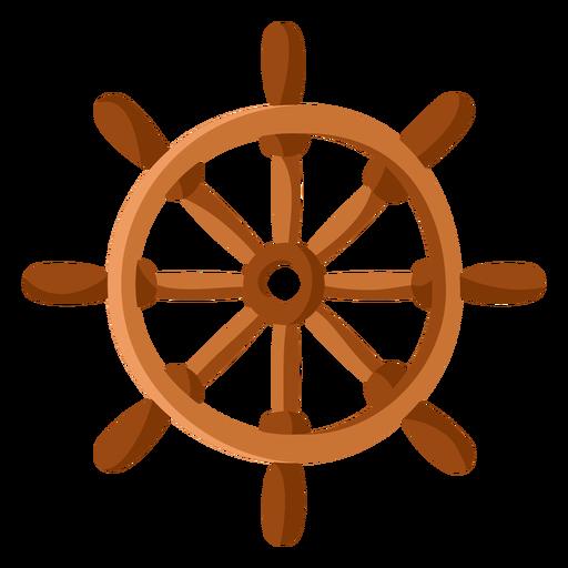 Ilustração plana do volante do navio
