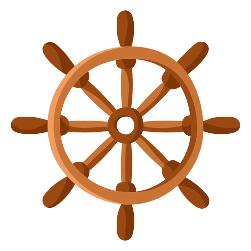 Ship steering wheel illustration flat Transparent PNG