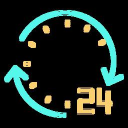 Número de setas circulares simples 24 laranja de ciano de traçado de relógio