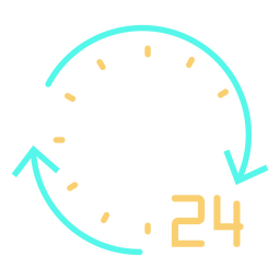 Simple circular arrows number 24 clock stroke cyan orange