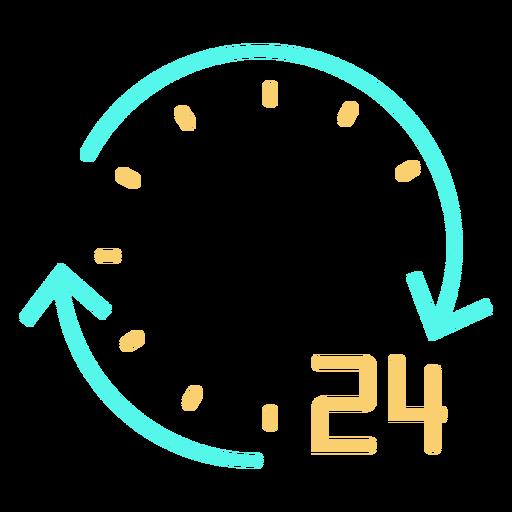 Simple circular arrows number 24 clock stroke cyan orange Transparent PNG
