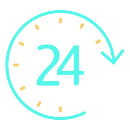 Simple clock 24 time icon
