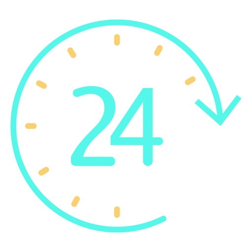 Simple clock 24 time icon Transparent PNG