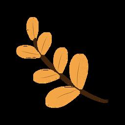 Ilustración de rama de hojas simples con textura