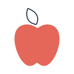 Simple shape red apple flat