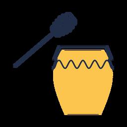 Ilustración de cucharón de tarro de miel amarilla simple