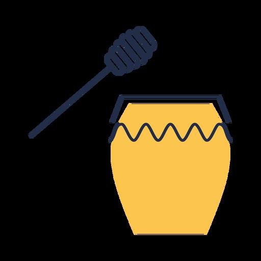 Simple yellow honey jar dipper illustration Transparent PNG