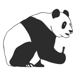 Golpe de perfil de panda sentado