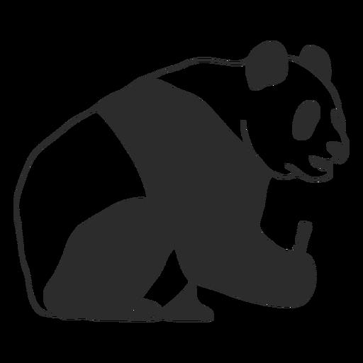Sitting panda profile stroke Transparent PNG