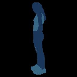Menina magra em pé perfil azul duotone