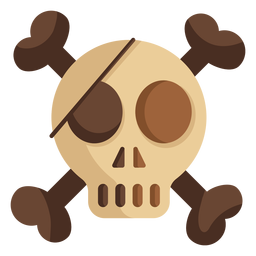 Ilustración de parche de cabeza de cráneo plana
