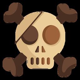 Skull head eye patch illustration flat