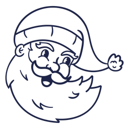 Smiling vintage santa head stroke