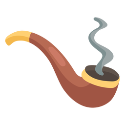 Smoking pipe icon flat