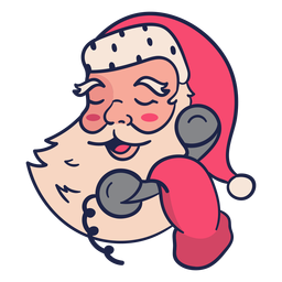 Speaking phone vintage santa head