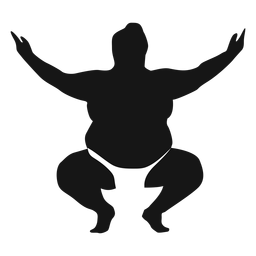 Brazos en cuclillas silueta de luchador de sumo