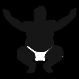 Silueta de luchador de sumo en cuclillas con los brazos