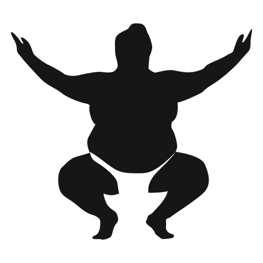 Squatting arms up sumo wrestler silhouette Transparent PNG