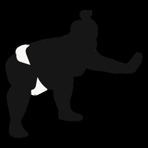 Silueta de luchador de sumo empujando en cuclillas