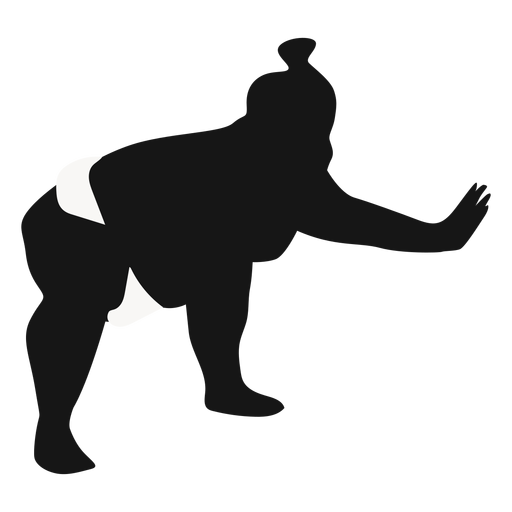Squatting pushing sumo wrestler silhouette