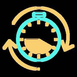 Icono de cronómetro flechas circulares trazo