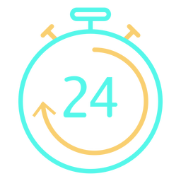 Icono de cronómetro digital 24 flecha circular