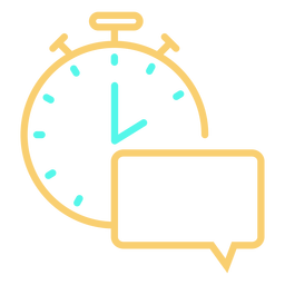 Icono de cronómetro trazo de burbuja de discurso