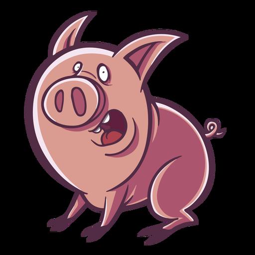 Surprised pig cartoon Transparent PNG