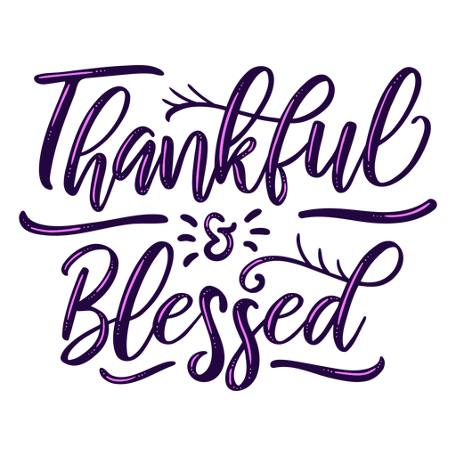 Thankful blessed lettering Transparent PNG