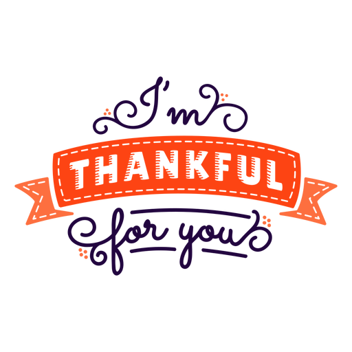 Thankful for you thanksgiving lettering red Transparent PNG
