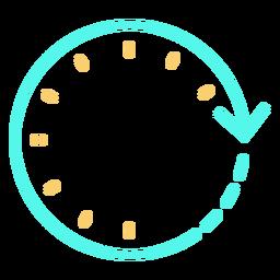 Tiempo flecha circular reloj trazo cian naranja