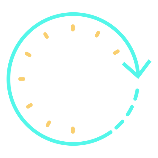 Tiempo flecha circular reloj trazo cian naranja Transparent PNG