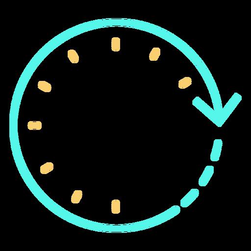 Time circular arrow clock stroke cyan orange Transparent PNG