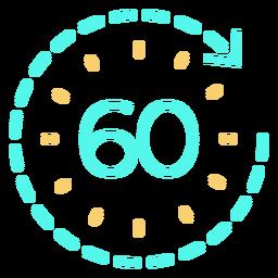 Timer 60 stroke cyan icon