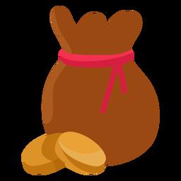 Treasure bag coin illustration