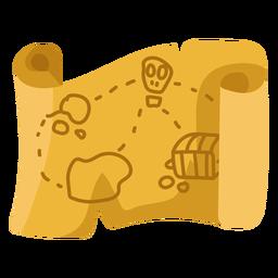 Ilustração plana bege do mapa do tesouro