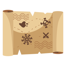 Treasure map detailed drawing illustration