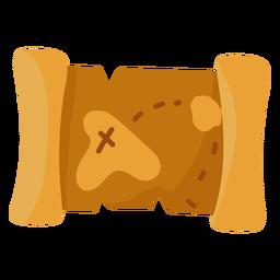 Ilustración del mapa del tesoro plana