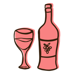 Dibujado a mano botella de vino copa