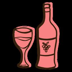 Mão de copo de garrafa de vinho desenhada