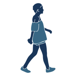 Mulher menina curta calções perfil azul duotone