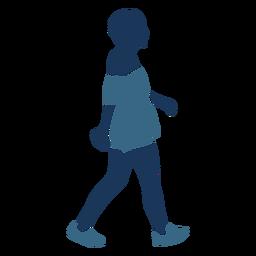 Woman girl walking shorts profile blue duotone