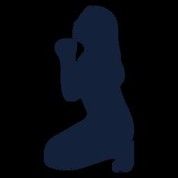 Silhueta de mulher rezando