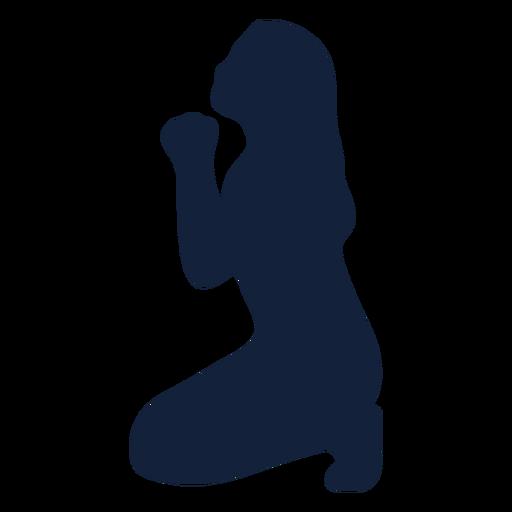 Silueta de mujer rezando