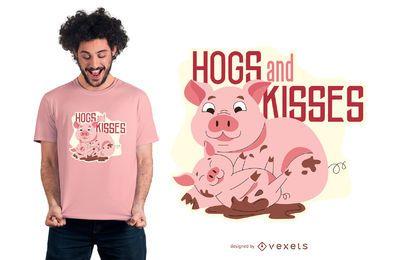 Projeto do t-shirt das citações do porco da mamã